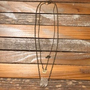 Layering necklaces: Love and crystals